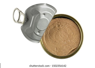 Opened metallic jar with liver pate isolated on white background. Top view