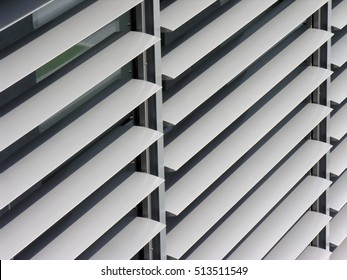 opened metallic window shutter in office building, innovation technique