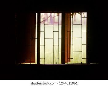 Opened metallic windows of a room isolated unique photo