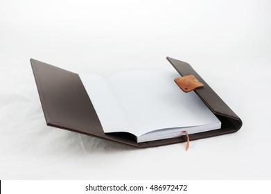 opened notebook isolated on white background