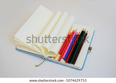 Opened Notebook Pages Wrapped Circle Multicolored Stock Photo Edit