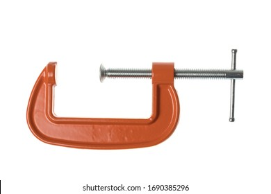Opened orange C-clamp, G-clamp, metal clamp, isolated on white background