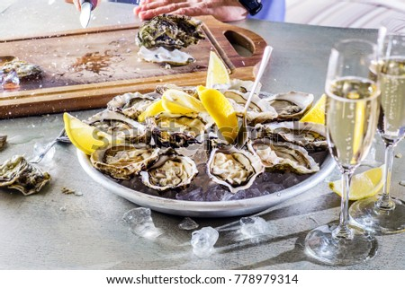 Opened Oysters  and champagne