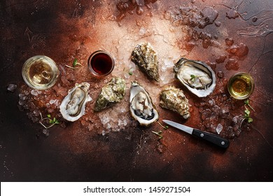 Opened oysters with crushed ice, knife, micro greens, sauces and glass of wine on brown concrete background. Overhead view