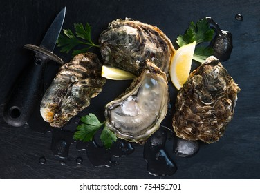 Opened oysters on stone slate plate with lemon and oyster knife, France