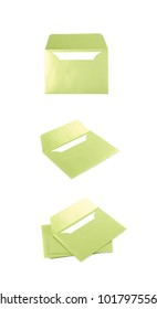 Opened paper envelope isolated over the white background, set of three different foreshortenings