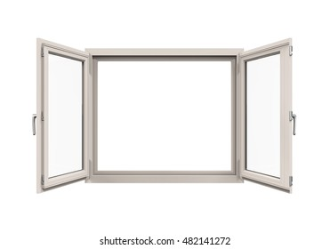 Opened Plastic Window. 3D rendering