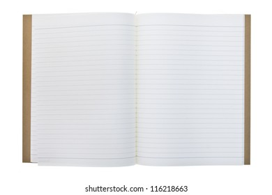 Opened recycle notebook isolated on white background