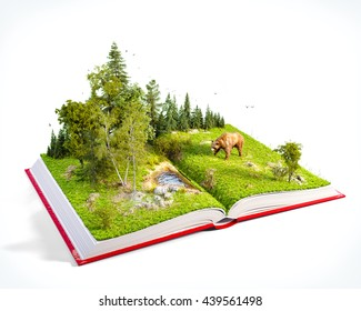 Opened Red Book With Wild Forest And Bear On Pages Endangered Species List