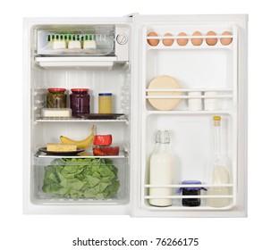 opened refrigerator full of foodstuff