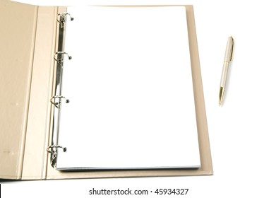 opened ring binder and pen on a white background