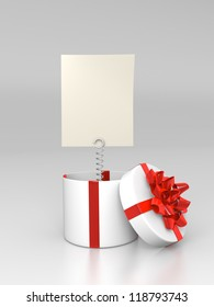 Opened round gift box with blank card