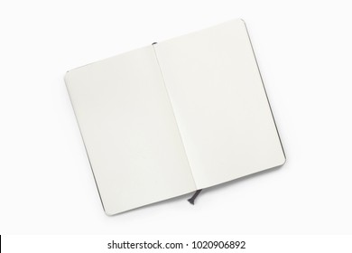 Opened sketchbook with blank pages isolated on white. 3d illustration for your artwork presentation or separate object for your library materials.