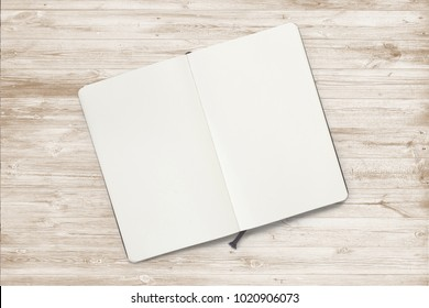Opened sketchbook with pages on wooden desk. 3d illustration for your artwork presentation or separate object for your library materials.