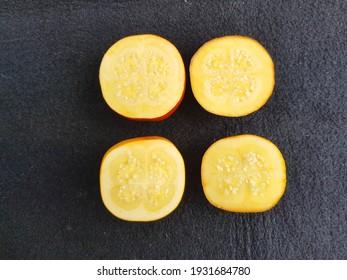 Opened Solanum sessiliflorum fruit or Cocona is a tropical shrub belonging to the Solanaceae family. Amazon, Brazil