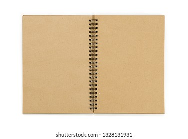 Opened spiral notebook with recycled paper isolated on white background.