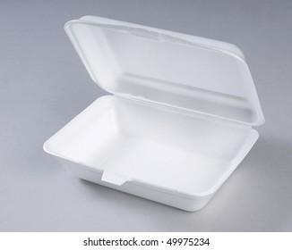Opened styrofoam meal box.