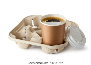 Opened take-out coffee in holder. Isolated on a white.