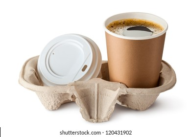 Opened take-out coffee in holder. Lid is near. Isolated on a white.