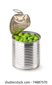Opened tin with green peas. Isolated on white.