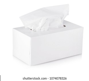 Opened  tissue box isolated on a white background