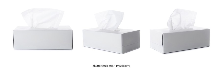 Opened tissue box on white background for print design and mock up