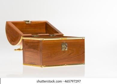 Opened Treasure Box on isolated white background.