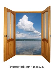opened two-leaf wooden door and cloudy landscape isolated with clipping path