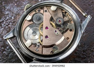 Opened Vintage 17 Jewels Mechanical Swiss Watch