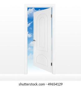 Opened white door to blue sky