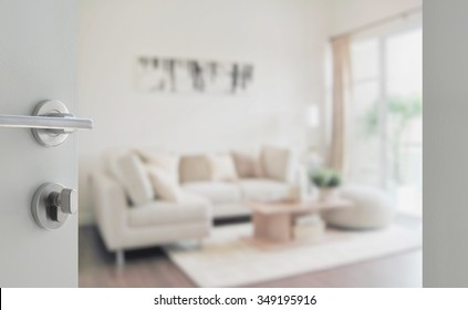 opened white door to modern living room interior