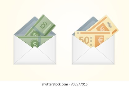 opened white envelope with cash dollar and euro money banknotes. Isolated white paper envelope with cash dollars and euros.
