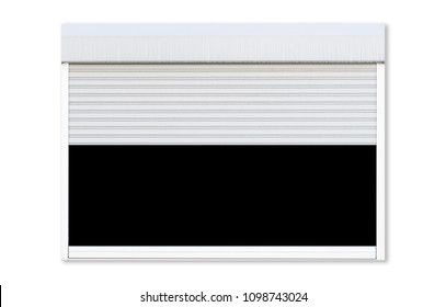 Opened white roller shutter garage window isolated on white background