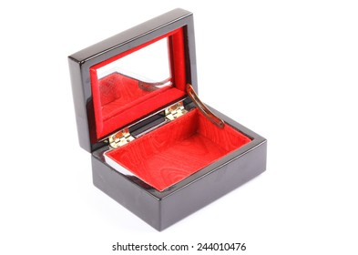 Opened wooden gift box on white background