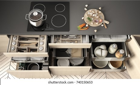 Opened wooden kitchen drawer with accessories inside, solution for kitchen storage and organizing, cooking, modern interior design, 3d illustration
