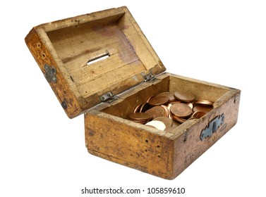 opened wooden moneybox with romanian currency