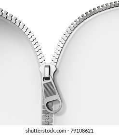 Opened zipper revealing a white background