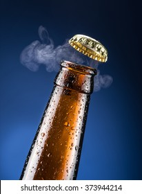 Opening of beer cap with the gas output.