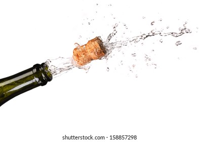 Opening a bottle of champange. Isolated on a white background