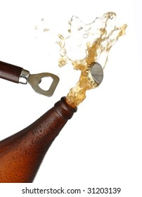 Opening a bottle of cold beer, splash image. White background