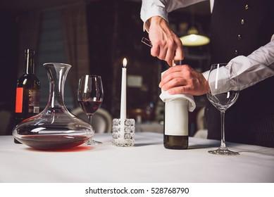 Opening bottle of white wine