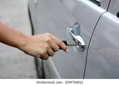 Opening the car door with key
