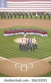 Opening Day Ceremonies featuring military color guard, boys choir and gigantic American Flag on March 31, 2008, Citizen Bank Park