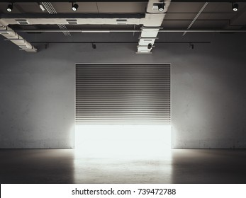 Opening door to the garage. Storage facility with bright light. 3d rendering