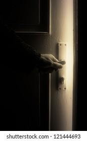 Opening door into mystical room.