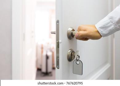 Opening a hotel door concept