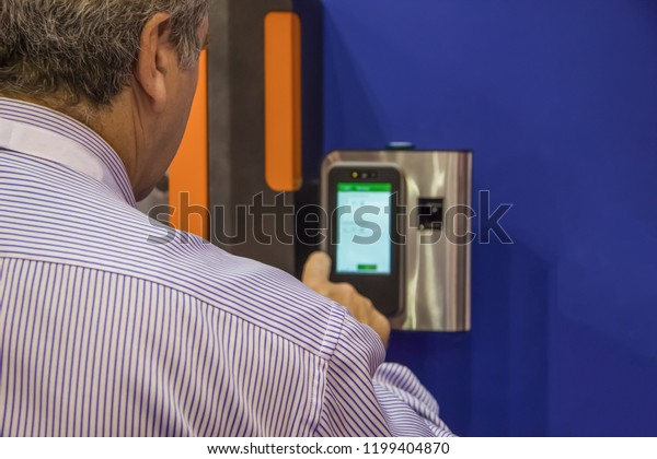 Opening Keyholder Biometric Identity Fingerprint Input Stock Photo