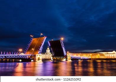 Opening of Palace drawbridge, White nights in Saint Petersburg, Russia. Neva river.