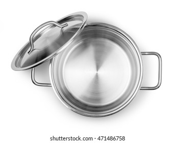 Opening Pot Top View isolated on white with clipping path
