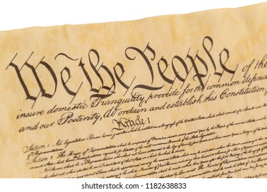 Opening preamble of the United States of America Constitution with a right facing view